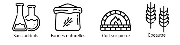 Pains d\'epeautre naturel sans additifs, fabrique avec des la farine naturelle et cuit sur pierre